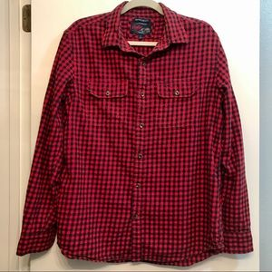 Old Navy Red Plaid Vintage Flannel Button Down